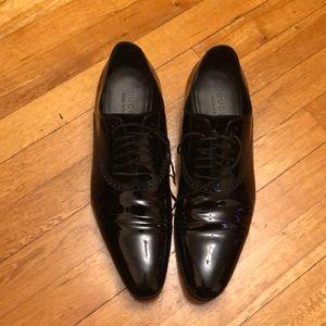 Gucci Vernice Crystal Nero Tuxedo Shoe